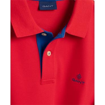 Gant Contrast Collar Pique Polo - Bright Red