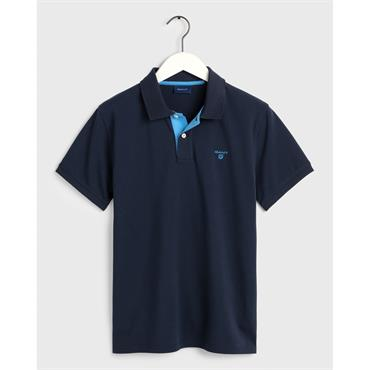 Gant Contrast Collar Pique - Navy
