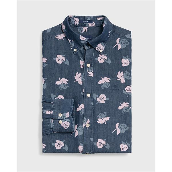 8cfb404f Code 3007320989. This elegant shirt is indigo dyed, and the roses are  pigmented printed ...