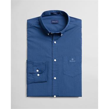 Gant Micro Dot Print Reg Button Down Shi - Deep Blue