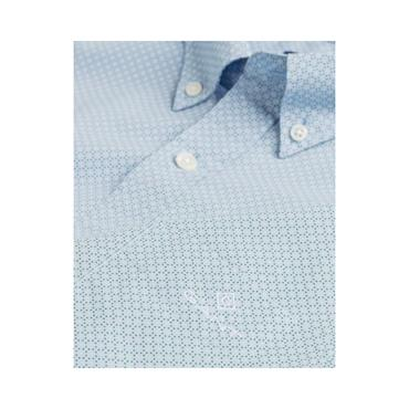 Gant Micro Dot Print Reg Button Down Shi - 468 Capri Blue