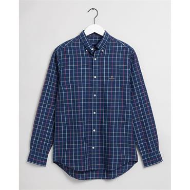 Gant Cotton Linen Check Shirt - Persian Blue