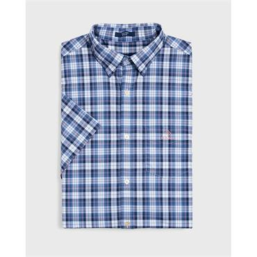 O2.Tp Broadcloth Check Reg Hbd Ss - Poseidon Blue