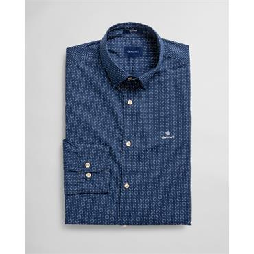 Micro Print Reg Hidden Button Down Shirt - 423 Persian Blue