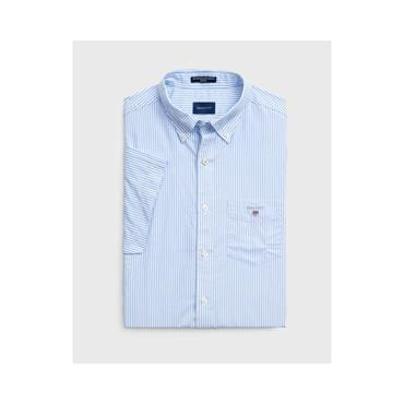 The Broadcloth Banker Reg Short Sleeve - 468 Capri Blue