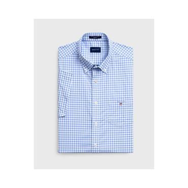The Broadcloth Gingham Reg Short Sleeve - 468 Capri Blue