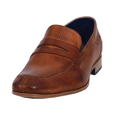 Men's Embossed Leather Penny Loafers, Brown - Bugatti