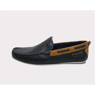 Benjy Mens Leather Slip On Boat Shoes, Navy - Bugatti