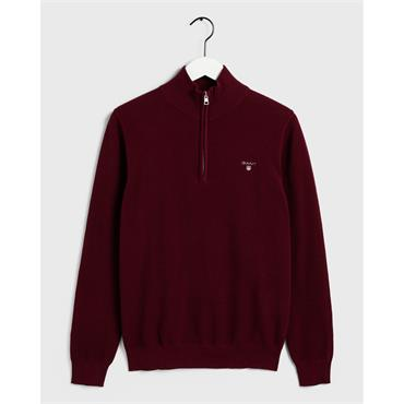 COTTON PIQUE HALF ZIP - Wine