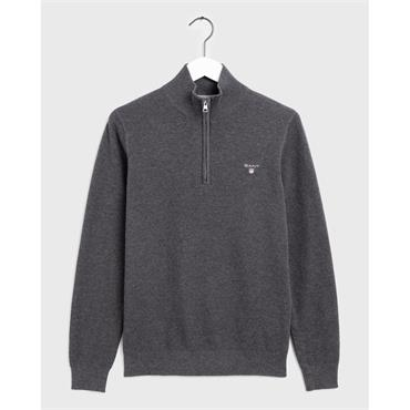COTTON PIQUE HALF ZIP - Grey