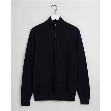 Gant 1/2 Zip Basket Weave Knit - Evening Blue