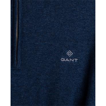 Gant Cotton Half Zip - Dark Jeans Blue Melange