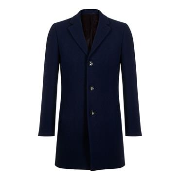 Slim Fit Wool-Rich Overcoat - Cobalt Blue
