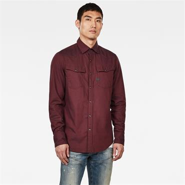 3301 Slim Shirt L/s - Dk Burned Red