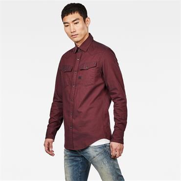 3301 Slim Shirt L/s - Dk Burned Red
