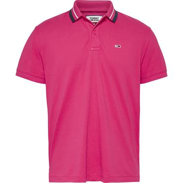 TOMMY JEANS TIPPED POLO - Pink