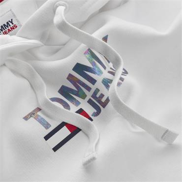 Tommy Jeans SLIM METAL CORP LOGO HOODIE - White