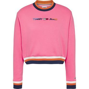 Tommy Jeans WomensREGULAR CROP TIPPING C - Botanical Pink