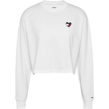 Tommy Jeans Womens L/S BXY CROP HOMESPUN - White