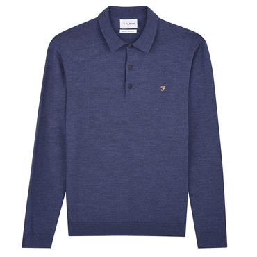 Maidwell-Knitted Ls Polo - Bobby Blue Marl