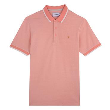 Basel Pique Polo Shirt, Peach - Farah