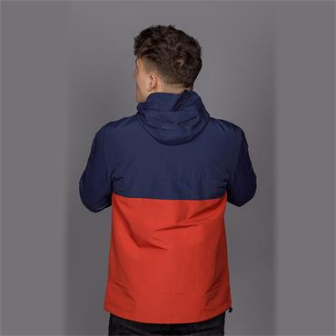 Bonnett Hooded Zip Jacket, Navy & Rust - Farah