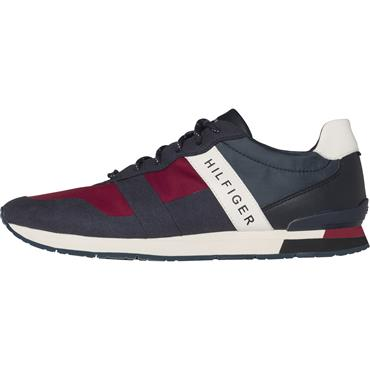 Material Mix Runner - Navy/Red