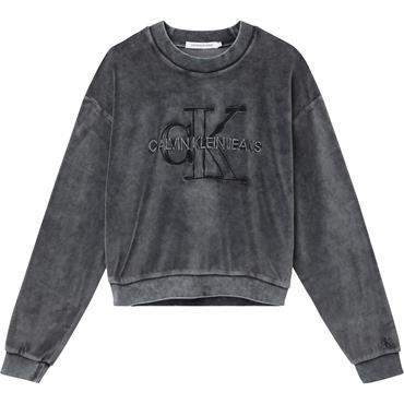 Ckj Womens Washed Velvet Sweat - Black