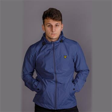 Zip Through Hooded Jacket - Indigo Blue