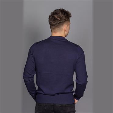 Wool Cotton Embroide Sweater - Navy Blazer