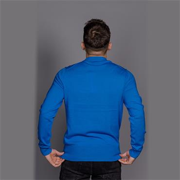 Wool Cotton Embroide Sweater - Imperial Blue