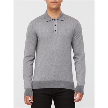 Ck Cotton Silk L/S Polo - Mid Grey