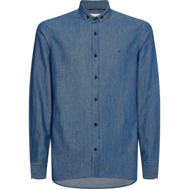 Calvin Klein Slim Fity Chambray Shirt - THE WEB HEATHER /SKY CAPTAIN