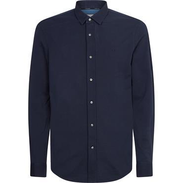 Calvin Klein Slim Fit Pique Shirt - Navy