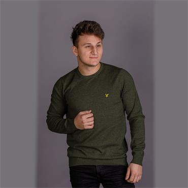 Cotton Marino Crew Jumper - Green Marl
