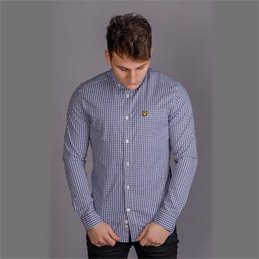 Ls Slim Fit Gingham Shirt - Grey Blue