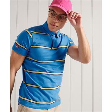 Superdry Academy Stripe Polo - Neptune Blue Stripe