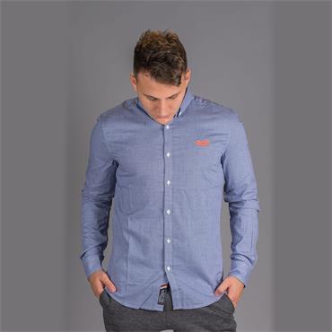 Premium Button Down Shirt - Royal Mini Grit Check