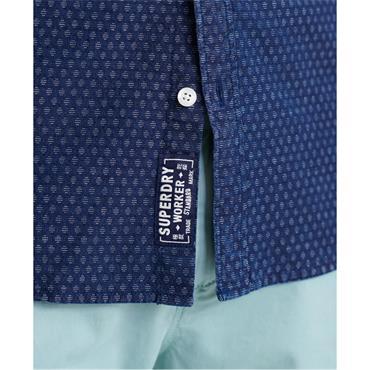 Superdry Loom S/S Shirt - Indigo Dobbie