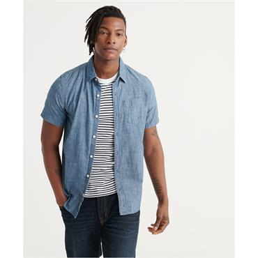 Superdry Loom S/S Shirt - Loght Wash Cross Hatch