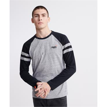 Superdry Softball Long Sleeve Ringer T - Collective Dark Grey Grit
