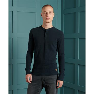 Superdry L/S Micro Texture Henley - Navy