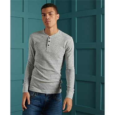Superdry L/S Micro Texture Henley - Grey Space Dye