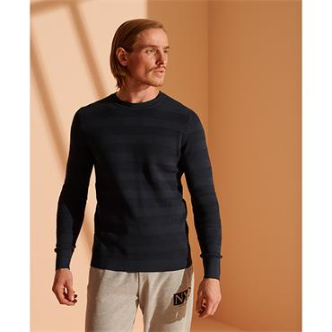 Superdry Fine Textured Crew - Carbon Navy