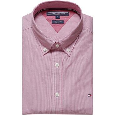 Engineered Striped Dobby Shirt - Haute Red