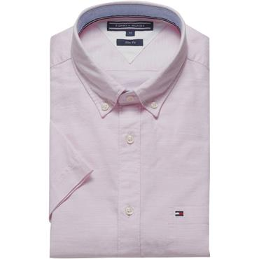 Slim Heather Oxford Shirt S/s - Pink