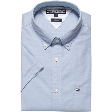Slim Heather Oxford Shirt S/s - Shirt Blue