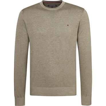 Cotton Silk Crew Neck - Vetiver Heather