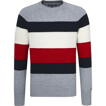 Colorblock Stripe Cneck Sweather - 055 Quicksilver Heather