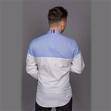 Color Block Shirt - Shirt Blue/bright White